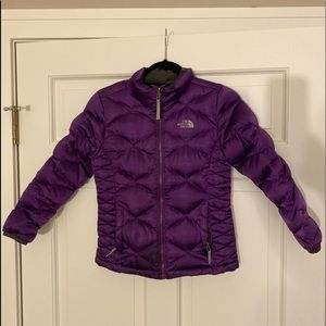 Girls purple North face down jacket
